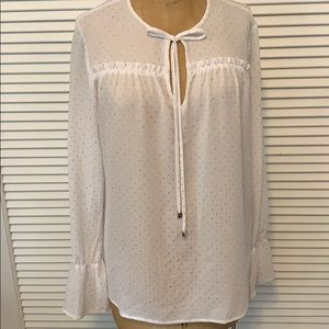 NWT Michael Kors white with silver blouse